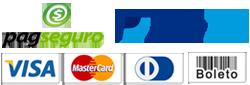 Use formas de pagamento como o PAYPAL e o PAGSEGURO e pague em até 12 vezes no cartão