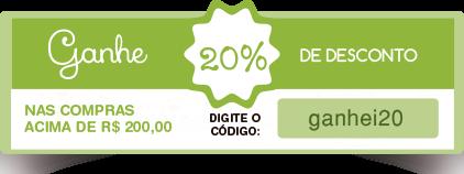 desconto de 20% nas compras acima de 200,00 reais