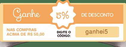 desconto de 5% nas compras acima de 50,00 reais